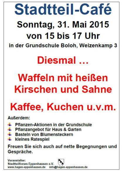 Stadtteilcafé am 31.05.2015, 15 bis 17 Uhr, Grundschule Boloh